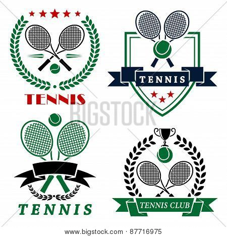 Tennis club logo with crossed rackets and balls