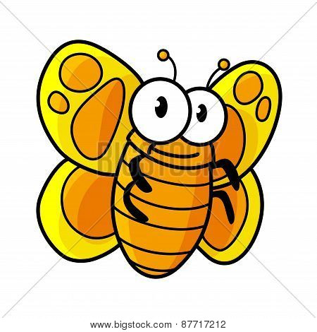 Yellow spotted butterfly cartoon character