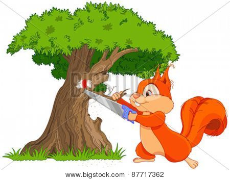 Illustration of funny squirrel saws tree branch