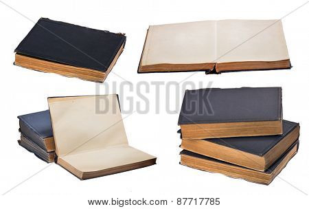 set of old books isolated on white background