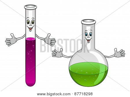 Cartoon laboratory test tube and flask characters