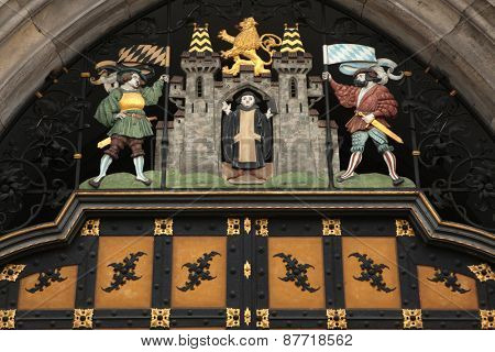 Coat of arms of Munich on the Neues Rathaus (New Town Hall) at the Marienplatz Square in Munich, Bavaria, Germany.