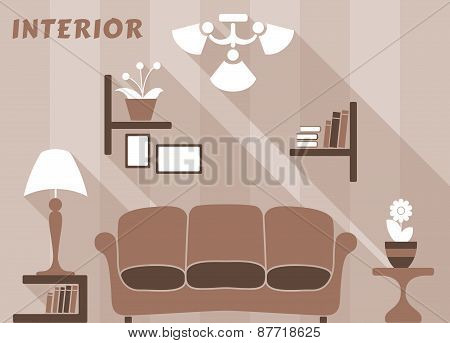 Living room modern interior design in flat style