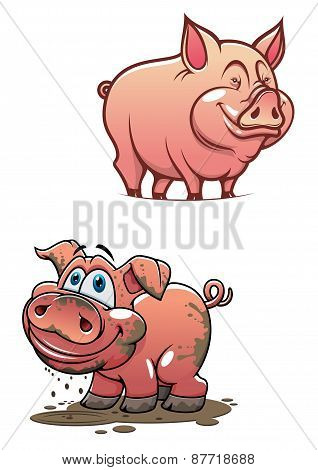 Cartoon dirty piggy and clean pink pig