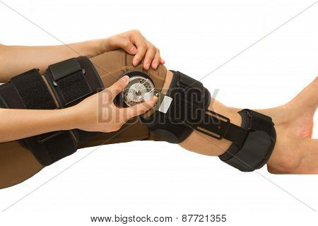 Adjustable Angle Knee Brace Support For Leg Or Knee Injury