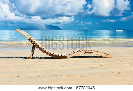 Beautiful beach with lounger at Seychelles, Mahe