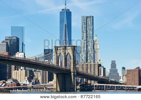 Brooklyn Bridge with lower Manhattan skyline in New York City