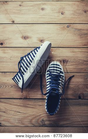 Stripe Sneaker in Blue