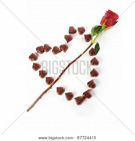 Chocolate Candies And Rose