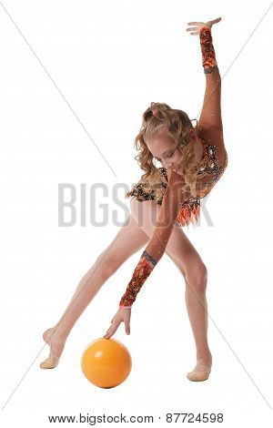 Cute gymnast dancing with ball. Isolated on white