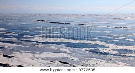 Frozen Lake Baikal. Winter.