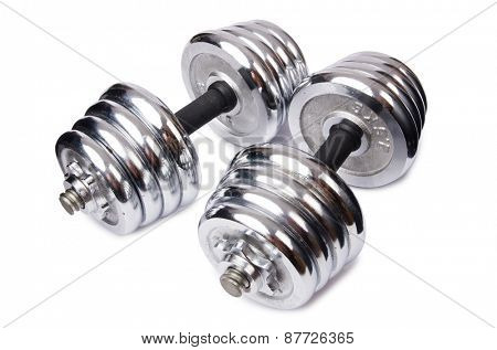 Dumbbells isolated on the white background