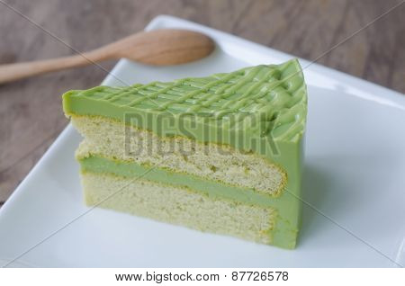Green Tea Cake On White Plate