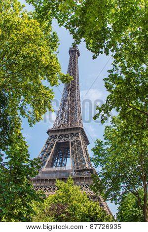 Eiffel tower on bright summer day