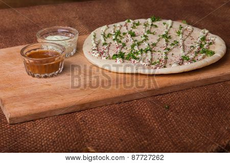 Arab tortilla bread. Bread with spices.