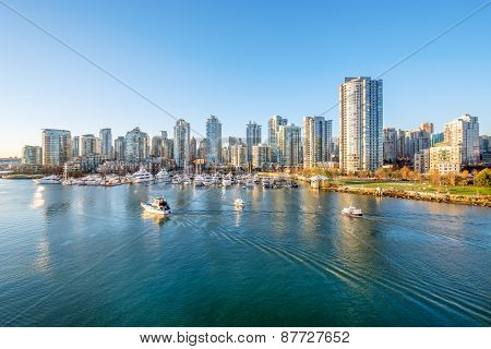 View from the Cambie Bridge. Downtown skyline in Vancouver, Canada.