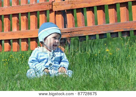 Little Cute Boy In Blue Striped Suit And Hat Sitting On Green Grass Near Orange Fence