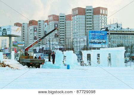 Perm, Russia - Dec 17, 2013: Construction Of Sculpture With Columns In Ice Town In Perm, Russia