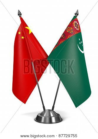 China and Turkmenistan - Miniature Flags.