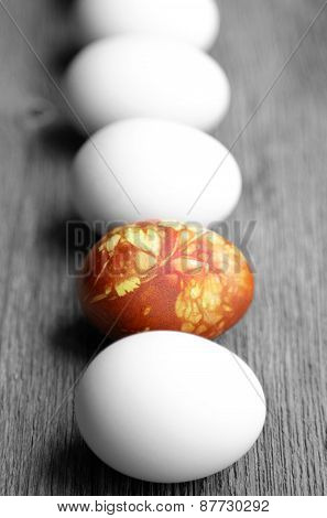 Colored Easter Eggs On Vintage Country Board