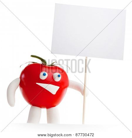 Tomato mascot holding blank card isolated on white background