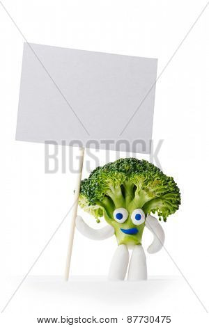 Broccoli mascot holding blank card isolated on white background