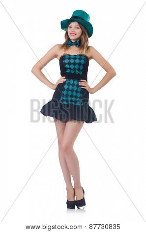 A girl in blue dress with bow-tie isolated on white