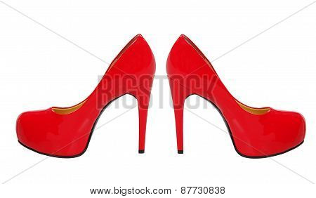 Red High Heeled Woman Shoes Isolated On White