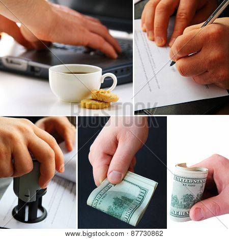 collage business concept - money, documents, computer, stamp