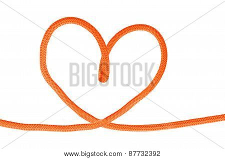 Heart Shaped Red Knot On Jute Rope