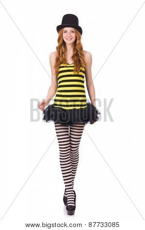 A girl in black and yellow striped dress isolated on white