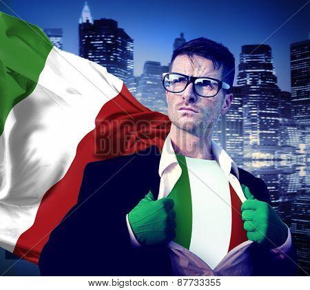 Superhero Businessman Italian Cityscape Concept