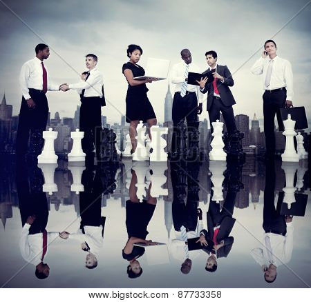 Business People Corporate Team Strategy City Concept
