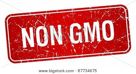 Non Gmo Red Square Grunge Textured Isolated Stamp