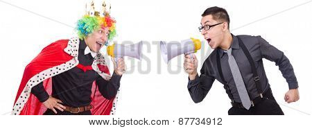 Businessman and clown isolated on white