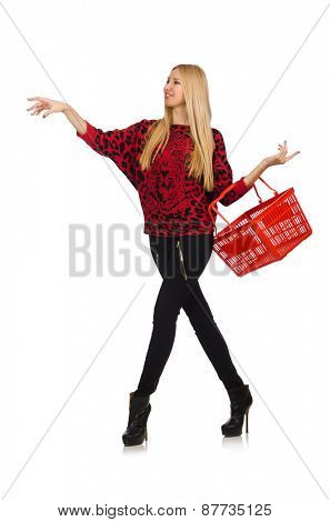 Woman with shopping basket isolated on white