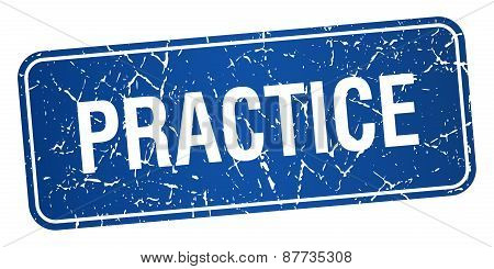 Practice Blue Square Grunge Textured Isolated Stamp