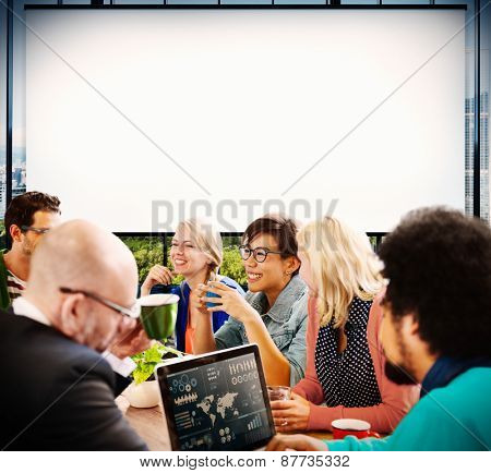 Group of People Meeting Projection Screen Concept