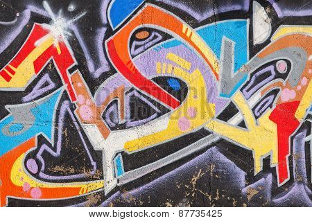 Bright Colorful Graffiti With Chaotic Text Pattern