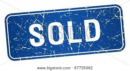 Sold Blue Square Grunge Textured Isolated Stamp