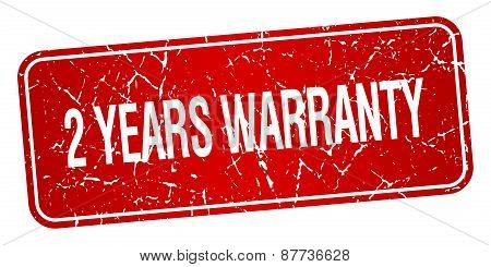 2 Years Warranty Red Square Grunge Textured Isolated Stamp