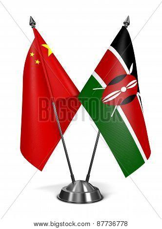 China and Kenya - Miniature Flags.