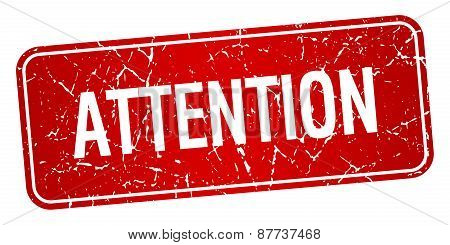 Attention Red Square Grunge Textured Isolated Stamp