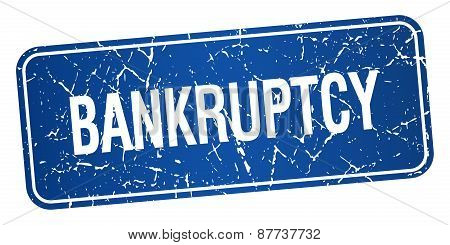 Bankruptcy Blue Square Grunge Textured Isolated Stamp