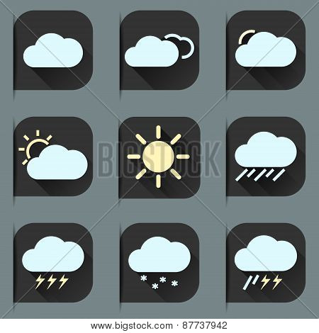 Flat design style weather icons and stickers set. Seasons theme, easy to use as icons, logo on web,