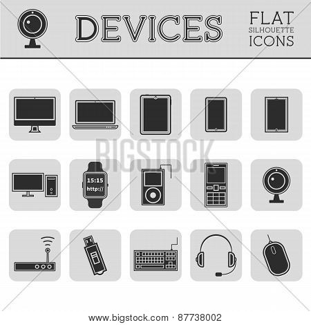 Trendy Silhouette PC, computer, mobile gadgets and device line icons and buttons . Graphic vector sy