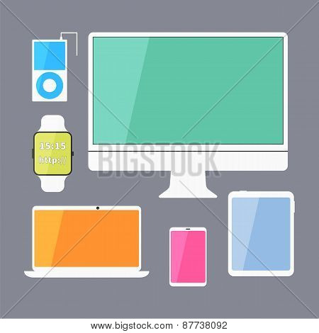 Modern business ui devices set - display, digital tablet, mobile devices, smart watch, music player