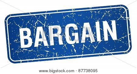 Bargain Blue Square Grunge Textured Isolated Stamp