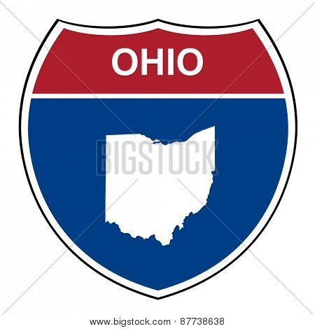 Ohio American interstate highway road shield isolated on a white background.