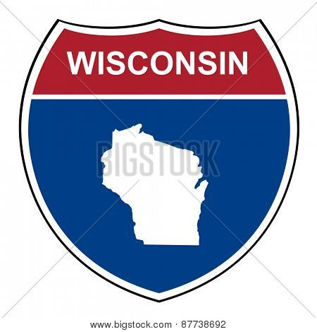 Wisconsin American interstate highway road shield isolated on a white background.